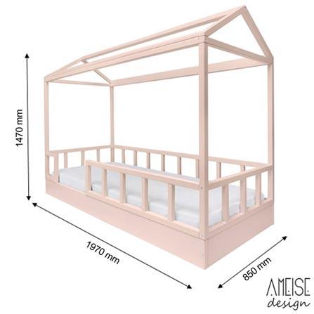 Cama Solteiro Casinha Farm Nude - Ameise Design, MDF, MDF pintado, MDF, 80 kg, Não, 12 meses