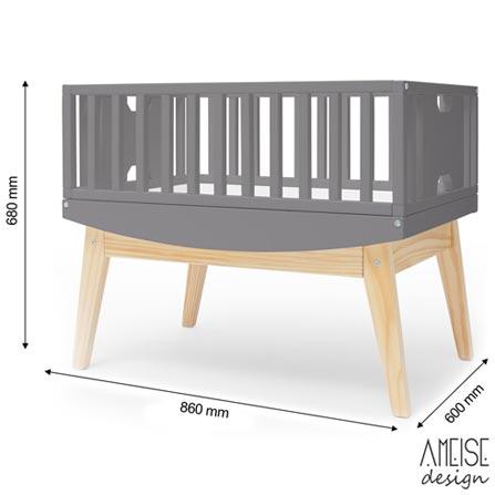 Mini Berco Bossa Rio Chumbo + Colchonete Infantil - Ameise Design, 1