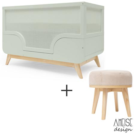 Berco Mini Cama Bossa Rio Hortela - Ameise Design + Banqueta Urca Rio Bege - Ameise Design, 1