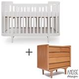 Berco Circus 2 Branco - Ameise Design + Comoda Farm 90 com 05 Gavetas Jequitiba - Ameise Design