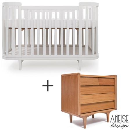 Berco Circus 2 Branco - Ameise Design + Comoda Farm 90 com 05 Gavetas Jequitiba - Ameise Design, 1