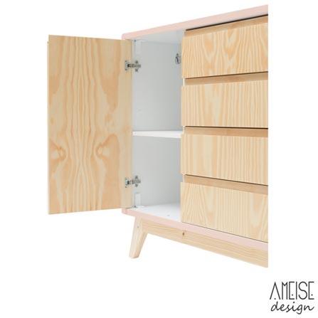 Comoda Nave Rio com 04 Gavetas e 02 Portas Nude + Trocador Rio Pinus - Ameise Design, 1