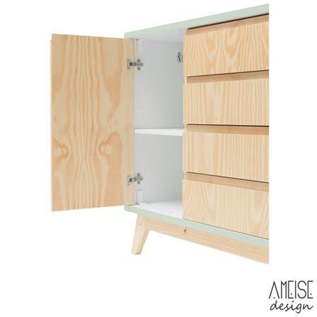 Comoda Nave Rio com 04 Gavetas e 02 Portas Hortela + Trocador Rio Pinus - Ameise Design, 1
