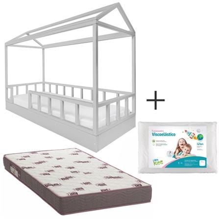 Cama Solteiro Casinha Farm Chumbo Ameise Design + Colchao D28 Branco e Bordo Ortobom + Travesseiro Kids Branco Fibrasca, 1