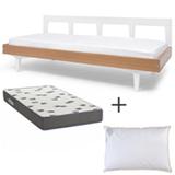 Cama Farm Branca - Ameise Design + Colchao Solteiro Light Ortobom + Travesseiro Toque de Pluma Branco - Buddemeyer