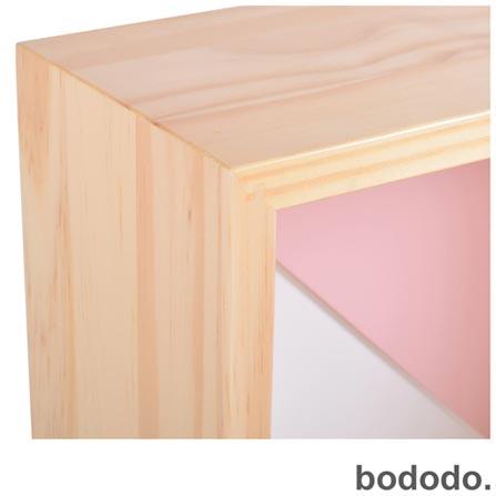 Módulo de Parede Bododo Quadrado Branco, Rosa, Cinza, Colorido, Pinus e MDF, 06 meses