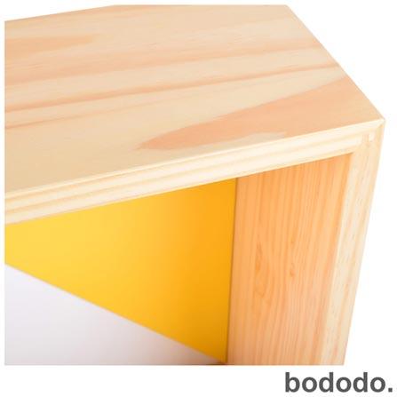 Módulo de Parede Bododo Quadrado Branco, Amarelo e Turquesa, Colorido, Pinus e MDF, 06 meses