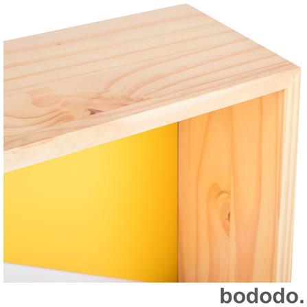 Módulo de Parede Bododo Retangular Branco, Amarelo e Turquesa, Colorido, Pinus e MDF, 06 meses