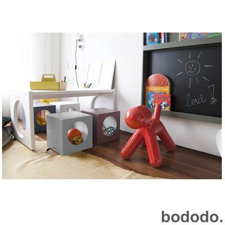 Banco Infantil Cubo Cinza - Bododo, Cinza, MDF, Laca, 70 kg, 06 meses