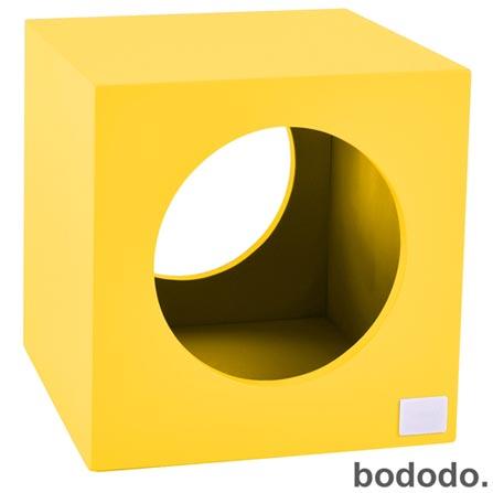 Banco Infantil Cubo Amarelo - Bododo, Amarelo, MDF, Laca, 70 kg, 06 meses