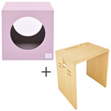 Banco Infantil Cubo Rosa  Bododo + Mesa Infantil Minitoca - Viscondesconde