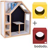 Cabana Pan + Banco Infantil Cubo Amarelo + Banco Infantil Cubo Vermelho - Bododo