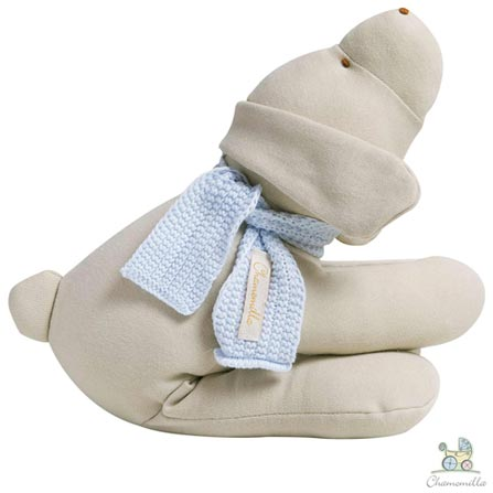Naninha Chamomilla Cachorro  Marrom com Cachecol Azul, Marrom, Não se aplica, 01 Peça, Algodão, Lã, Não, 12 meses