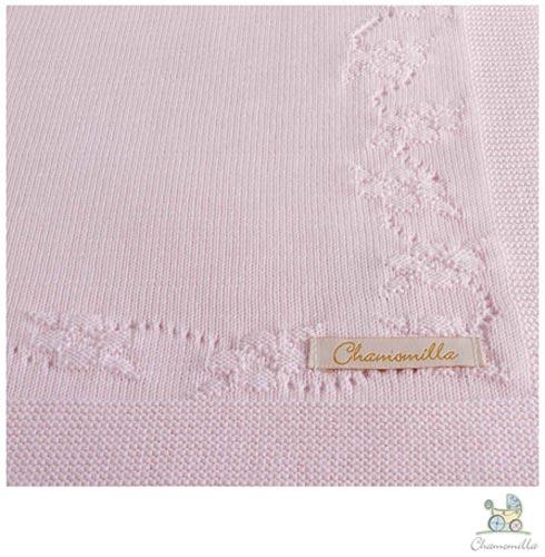Manta de Colo Chamomilla em Trico Flores Natural + Manta de Colo Chamomilla em Trico Flores Rosa, 1