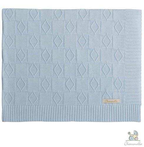 Manta de Colo Chamomilla em Trico Tabuleiro Natural + Manta de Colo Chamomilla em Trico Tabuleiro Azul, 1