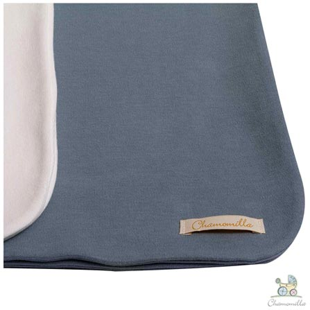 Kit com 02 Mantas Chamomilla em Algodão Orgânico Natural e Jeans, Branco e Azul, Berço, 02 Peças, Algodão, N/A, Sim, 03 meses