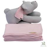 Manta com Naninha Chamomila Urso Cinza e Rosa Bebê