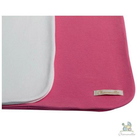 Kit com 02 Mantas Chamomilla Natural e Pink, Azul e Pink, Berço, 02 Peças, Algodão, N/A, Sim, 03 meses