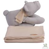Manta com Naninha Chamomila Urso Cinza e Amarelo Bebê