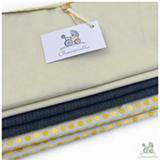 Envelope para Maternidade com 06 Peças Jeans e Poá Amarelo - Chamomilla