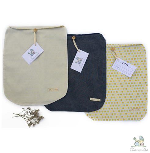 Envelope para Maternidade com 06 Peças Jeans e Poá Amarelo - Chamomilla, Azul e Amarelo, 03 meses