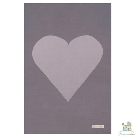 Manta em Algodão Orgânico Dupla Face Coração Cinza Escuro e Rosa Bebê - Chamomilla, Cinza e Rosa, 03 meses