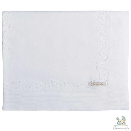 Manta de Colo Chamomilla em Tricô Flores Natural, Branco, Colo, 01 Peça, Algodão, N/A, Não, 03 meses