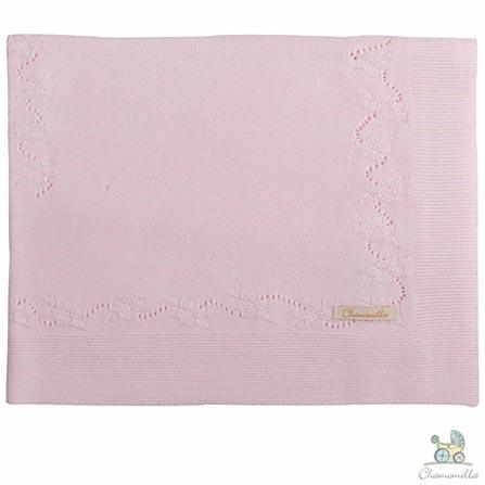 Manta de Colo Chamomilla em Tricô Flores Rosa, Rosa, Colo, 01 Peça, Algodão, N/A, Não, 03 meses