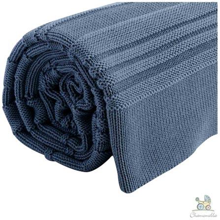 Manta de Colo Chamomilla em Tricô Listrada Jeans, Azul, Berço, 01 Peça, Algodão, N/A, Não, 03 meses