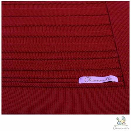 Manta de Colo Chamomilla em Tricô Listrada Cereja, Vermelho, Berço, 01 Peça, Algodão, N/A, Não, 03 meses