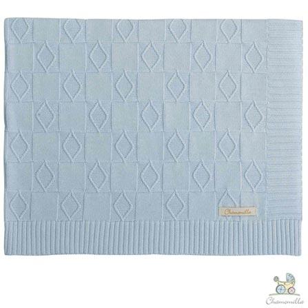 Manta de Colo Chamomilla em Tricô Tabuleiro Azul, Azul, Colo, 01 Peça, Algodão, N/A, Não, 03 meses