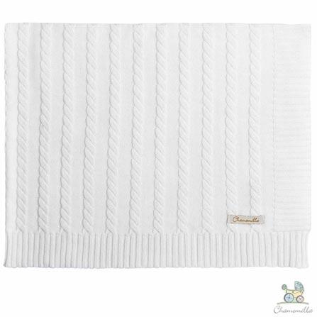 Manta de Colo Chamomilla em Tricô Trança Natural, Branco, Berço, 01 Peça, Algodão, N/A, Não, 03 meses