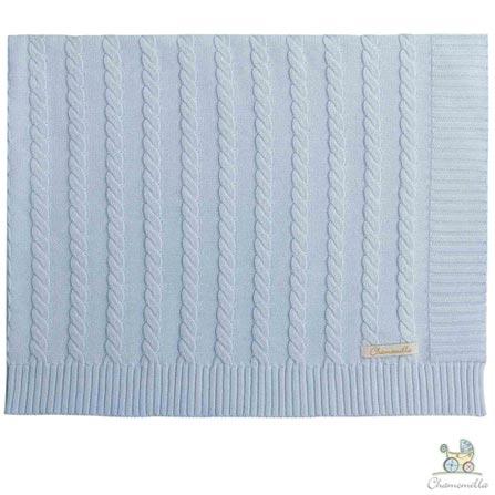 Manta de Colo Chamomilla em Tricô Trança Azul, Azul, Berço, 01 Peça, Algodão, N/A, Não, 03 meses