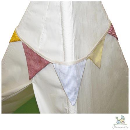 Tenda Natural Chamomilla Branca com Bandeirinhas e Almofada Verde, Branco, Cabana, Madeira Pinus, algodão e fibra siliconada, 03 meses