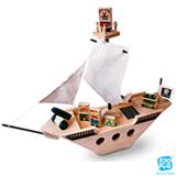 Navio Pirata com 08 Peças em Madeira - Kitopeq