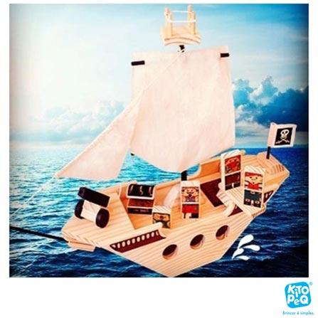 Navio Pirata com 08 Peças em Madeira - Kitopeq, Não se aplica, Madeira, 8, A partir de 03 anos, 03 meses