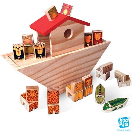 Arca de Noé com 16 Peças em Madeira - Kitopeq, Não se aplica, Madeira, 16, A partir de 03 anos