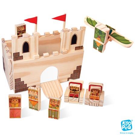 Castelo do Rei com 10 Peças em Madeira - Kitopeq, Não se aplica, Madeira, 10, A partir de 03 anos, 03 meses