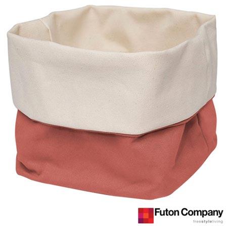 Cesto Basket M Futon Company com 6,8 Litros Porcelana Rosa, Rosa, Algodão, 03 meses