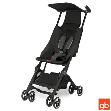 Carrinho de Bebê Pockit Preto - GB, Preto, Aluminio, Polietileno e Tecido, 6 meses, 17 kg, 24 meses