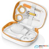 Kit de Higiene com Estojo Multikids Baby Branco e Laranja