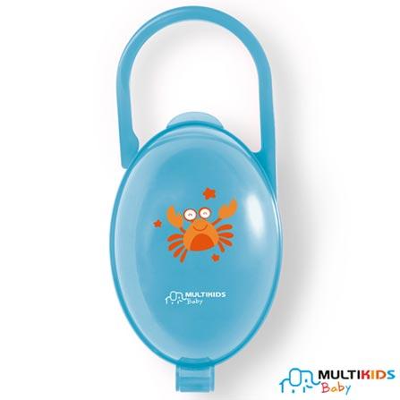 Porta Chupeta Multikids Paci Clean com Fechamento com Click Azul - BB141, Azul, Polipropileno, 2, 03 meses