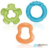Mordedor Multikids Baby Tender Bites com Água e 03 Unidades Azul, Verde e Laranja - BB149