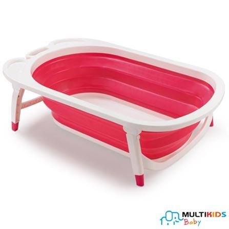 Banheira Dobrável Multikids Baby Rosa Flexi Bath, Rosa, Polipropileno, 06 Litros, 03 meses
