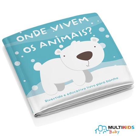 Livrinho para Banho Multikids Baby - Onde Vivem os Animais?, Azul, PVC, 1, 03 meses