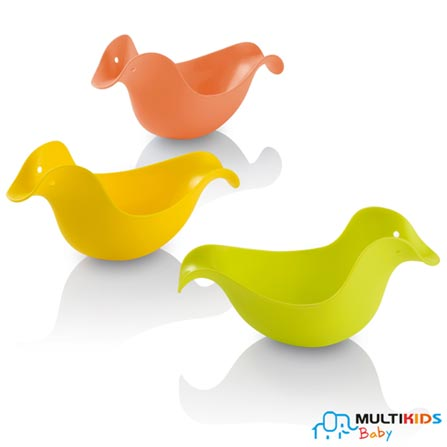Patinhos para Banho Multikids Baby Quack Ducks em PVC com 03 peças  Verde, Laranja e Amarelo, Colorido, PVC, 3, 03 meses