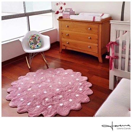 Tapete Infantil Lorena Canals Galletita Pink Redondo em Algodão Rosa, Branco e Creme, Colorido, Algodão, 01 mês