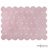 Tapete Infantil Lorena Canals Galletita Pink Retangular em Algodão Rosa com Branco