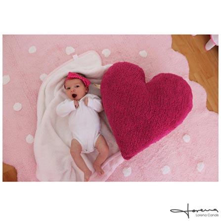 Tapete Infantil Lorena Canals Galletita Pink Retangular em Algodão Rosa com Branco, Rosa e Branco, Algodão, 01 mês