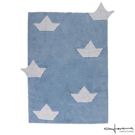 Tapete Infantil Lorena Canals Barquitos Retangular Azul e Branco, Azul e Branco, Algodão, 03 meses